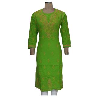 New Chikan Collection Designer Handmade Work Green Cotton  Kurti from ADA A134405