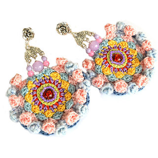 Non Plated Multicolor & Pink Fibre Earrings For Women