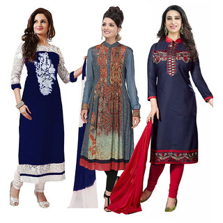 Surat tex  Multi Colored Georgette  Cotton  Semi-Stitched  Combo of 3 Salwar Suit  Kurti-STMix212