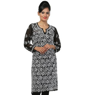 ADA Hand Embroidery Work Ethnic Chikan Kurti for Women Casual Wear A131880
