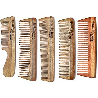 Healthy Ideas Sets of 5  Neem wood comb