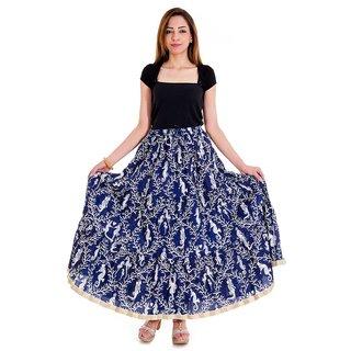 Chesta Regular Navy Blue Printed Women's Skirt