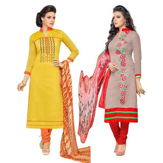 Surat tex Grey  Yellow Colored Chanderi Cotton Party Wear Embroidery Combo of 2 Salwar Suit-ST2DL194