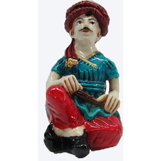 Earth Punjabi Man Playing Manjira Musician Statue