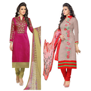 Surat tex Grey  Pink Colored Chanderi Cotton Party Wear Embroidery Combo of 2 Salwar Suit-ST2DL193