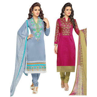 Surat tex Pink  Grey Colored Chanderi Cotton Party Wear Embroidery Combo of 2 Salwar Suit-ST2DL189