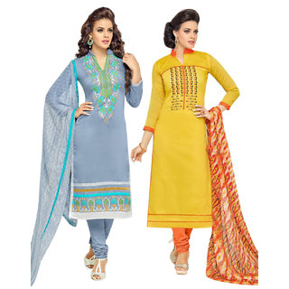 Surat tex Yellow  Grey Colored Chanderi Cotton Party Wear Embroidery Combo of 2 Salwar Suit-ST2DL190
