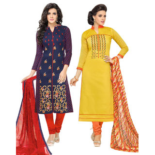Surat tex Yellow  Blue Colored Chanderi Cotton Party Wear Embroidery Combo of 2 Salwar Suit-ST2DL187