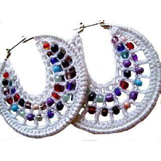 Non Plated White Fibre Earrings For Women