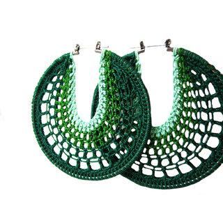 Non Plated Green Fibre Earrings For Women