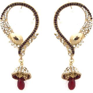 Kriaa Gold Plated Maroon Alloy Earrings For Women
