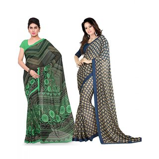 Surat tex Blue  Black Colored Dani Georgette  Georgette Casual Wear Printed Combo of 2 Saree-ST2SE163