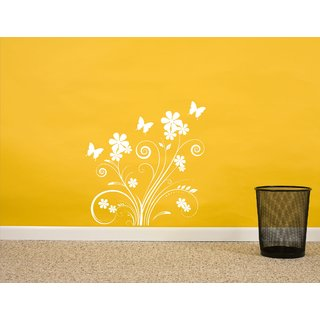 Tree & Flower With Butterfly White  Wall Sticker