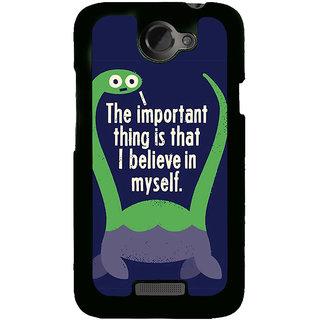 Fuson Designer Back Cover For HTC One X :: HTC One X+ :: HTC One X Plus :: HTC One XT (Believe Trust Confidence Dinoasaur Green)