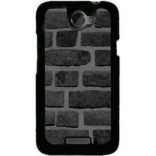 Fuson Designer Back Cover For HTC One X :: HTC One X+ :: HTC One X Plus :: HTC One XT (Bricks Pebbles Stones Black Black Bricks Black Wall)