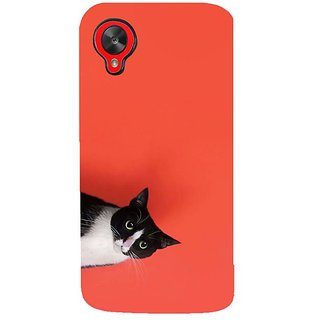 Fuson Designer Phone Back Case Cover LG Nexus 5 :: LG Google Nexus 5 :: Google Nexus 5 ( Cat Peeping Out From Frame )