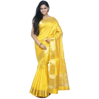 Sudarshan Yellow Raw Silk Printed Saree With Blouse