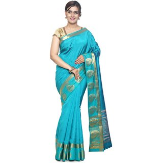 Sudarshan Blue Raw Silk Printed Saree With Blouse