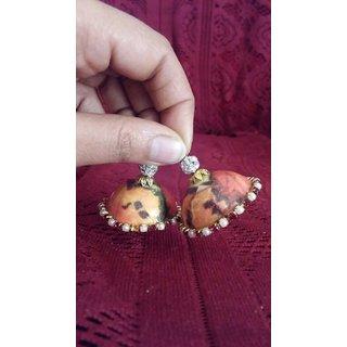 Non Plated Green  Orange Plastic Earrings For Women