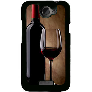 Fuson Designer Back Cover For HTC One X :: HTC One X+ :: HTC One X Plus :: HTC One XT (Wine Red Wine Glass Wine Bottle Red)
