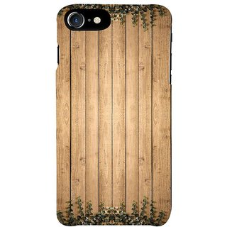 Fuson Designer Phone Back Case Cover Apple IPhone 7 ( Wood Table With Leaves )