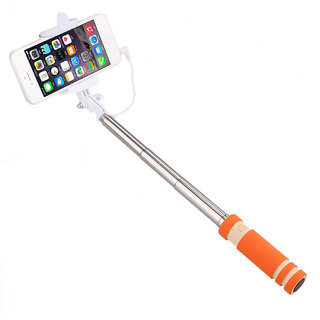 Mini Orange Selfie Stick  Pocket  for Iball Andi 5H Quadro by Creative available at ShopClues for Rs.249