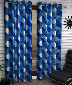 Styletex Set of 2 Long Door Eyelet Curtains Checks Blue