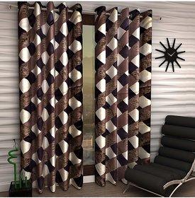 Styletex Set of 2 Long Door Eyelet Curtains Checks Brown