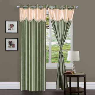 Styletex Set of 2 Long Door Eyelet Curtains Plain Green