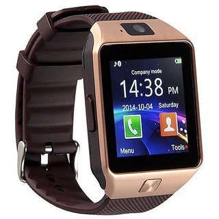 Bluetooth Smartwatch Golden(Sim Supported) with apps (facebook,whatsapp,twitter etc.) compatible with Karbonn A18+ by Creative