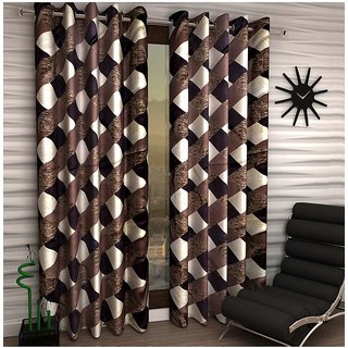 Styletex Set of 2 Long Door Eyelet Curtains Checks Brown
