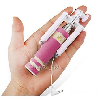 Mini Pink Selfie Stick  Pocket  for Iball Andi 5H Quadro by Creative available at ShopClues for Rs.249