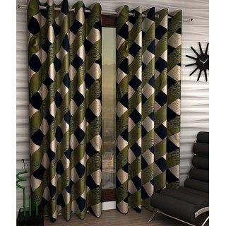 Styletex Set of 2 Door Eyelet Curtains Checks Green