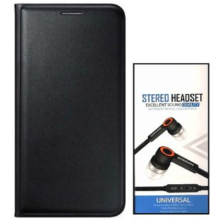 Flip cover For Samsung Galaxy On Nxt (BLACK) With Universal Earphone(3.5mm jack)