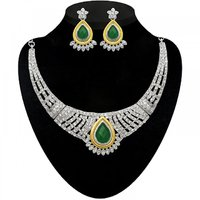 Kriaa by Jewelmaze Zinc Alloy 2 Tone Gold Plated Green And White Austrian Stone Necklace Set-AAA1231