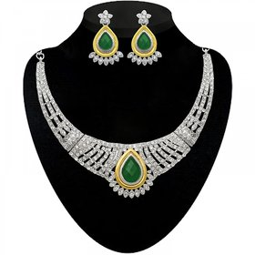 Jewelmaze Gold Plated Green Alloy Necklace Set For Women