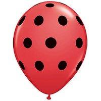 "Qualatex Red With Black Polka Dots 5"" Round Latex Ballo"