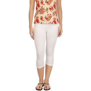 Rupa White Cotton Lycra Capri Leggings