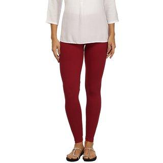 Rupa Maroon Cotton Lycra Ankle Length Leggings
