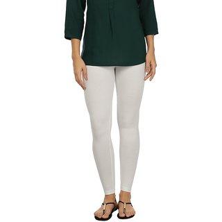 Rupa White Cotton Lycra Ankle Length Leggings