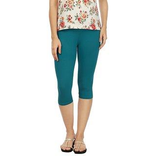 Rupa Green Cotton Lycra Capri Leggings