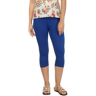Rupa Blue Cotton Lycra Capri Leggings