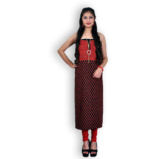 Black Cotton Suit with Kashmiri Embroidery (Unstitched)
