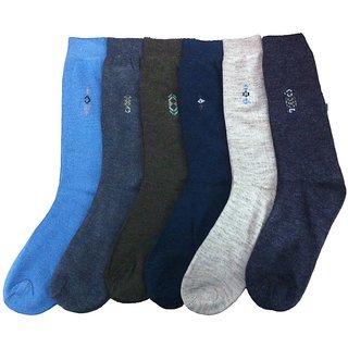 Multicolour Formal Cotton Full Length Socks For Men - Pack Of 6 Pairs