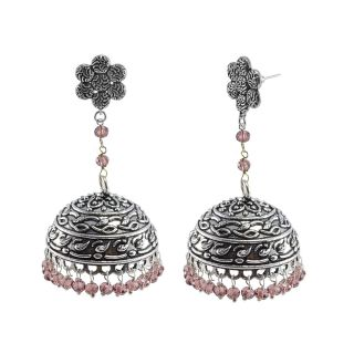 Silvesto India Purple Alloy Silver Plated Jhumkis For Women
