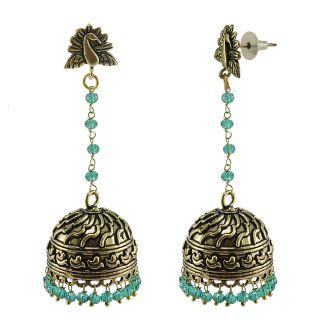 Silvesto India Green Brass & Copper Non Plated Jhumkis For Women