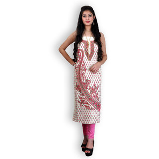 Off White Cotton Suit with Kashmiri Embroidery (Unstitched)