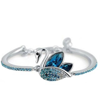 OM Jewells Rhodium Plated Blue  Silver Alloy Bracelets for Women