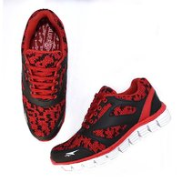 Blue Pop Men Red Lace-up Running Shoes