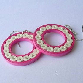 Pink  White Round Earring